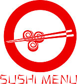 Japanese sushi restaurant logo isolated on white background. Sushi menu. Vector illustration.
