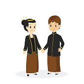 Indonesia - Javanese couple wearing traditional wedding dress, cartoon vector illustration