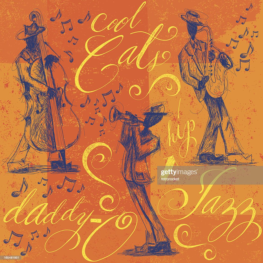 Jazz band with calligraphy : Vector Art