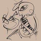 Jazz Face Sketch (Vector Art)