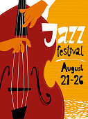 Vector illustration for a jazz festival vector poster with double bass musician. Jazz concert poster