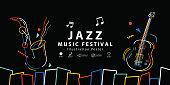 Jazz music festival banner poster illustration vector. Background concept.