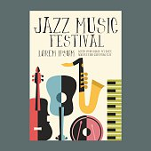 Jazz Music Festival Poster Advertisement with music instruments