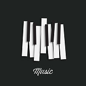 Music piano keyboard. Can be used as poster element or icon. Vector illustration.