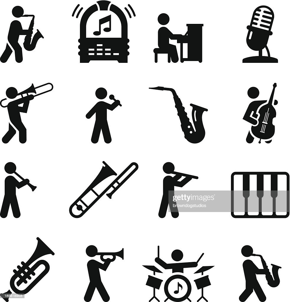 Jazz Music Icons Black Series Vector Art | Getty Images
