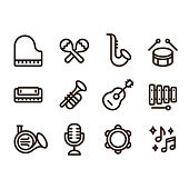 Jazz music instruments icons set. Modern and simple musical line icons, vector illustration collection.