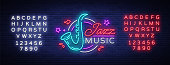 Jazz music is a neon sign. Symbol, neon-style logo, bright night banner, luminous advertising on Jazz music for Jazz cafe, restaurant, bar, party, concert. Vector illustration. Editing text neon sign.