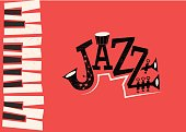 Flat vector illustration of the word 'Jazz' and keyboard - retro style