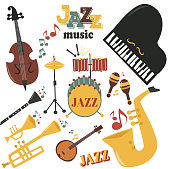 Jazz musical instruments tools icons jazzband piano saxophone music sound vector illustration rock concert note. Entertainment festival music style