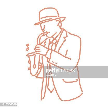 Musicien De Jazz Avec Un Instrument Dessin Au Trait Dessines A La