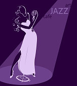 Jazz singer in evening gown with pole microphone in sophite progector light - template for poster or card