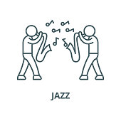 Jazz vector line icon, outline concept, linear sign