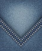 Blue jeans angle with diamonds on jeans background.
