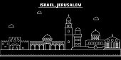 Jerusalim silhouette skyline. Israel - Jerusalim vector city, israeli linear architecture, buildings. Jerusalim line travel illustration, landmarks. Israel flat icon, israeli outline design banner