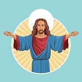 jesus christ religious image label vector illustration eps 10