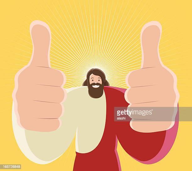 Jesus Christus Daumen hoch und Offenes Lächeln