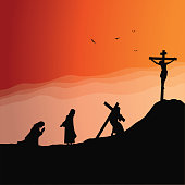 Vector illustration of Jesus praying and joueney to Calvary.