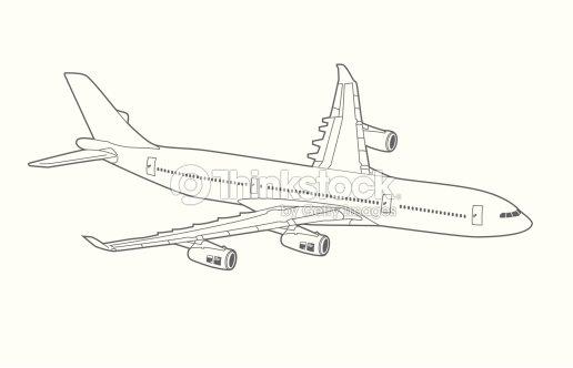Line Art Jet : Avión reactor de trazado arte vectorial thinkstock