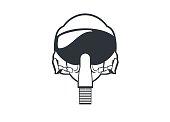simple line art illustration of a jet fighter pilot helmet
