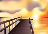jetty sunrise. abstract vector background. 10 EPS