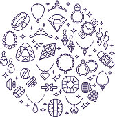Jewelry and gemstones line vector icons. Luxury concept for jewelry store. Gemstone and diamonds round emblem