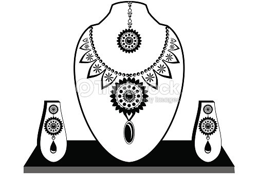 Line Art Earrings : Jewelry necklace line art on display bust illustration