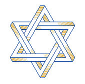 Jewish hexagonal star sacred geometry religion symbol created from two dimensional triangles impossible shapes, vector emblem design element.
