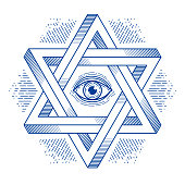 Jewish hexagonal star with all seeing eye of god sacred geometry religion symbol created from two dimensional triangles impossible shapes, vector emblem design element.