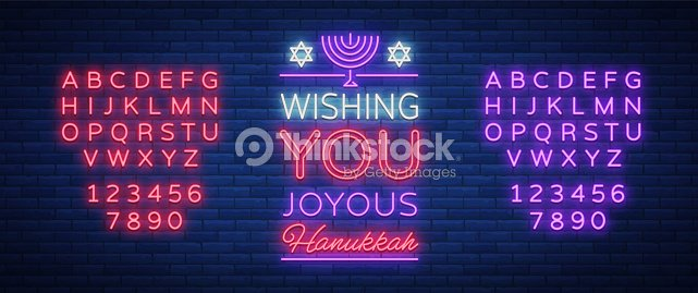 Jewish holiday Hanukkah is a neon sign, a greeting card, a traditional Chanukah template. Happy Hanukkah. Neon banner, bright luminous sign. Vector illustration. Editing text neon sign. Neon alphabet