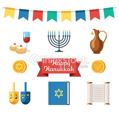 Jewish holidays hanukkah flat icons