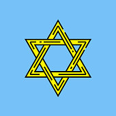 Star of David symbol. Religious Judaism sign. Yellow Jewish line icon isolated on blue background. Vector illustration.