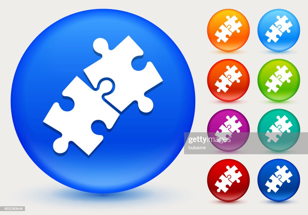 Jigsaw Icon on Shiny Color Circle Buttons : Vector Art