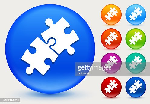 Jigsaw Icon on Shiny Color Circle Buttons : Clipart vectoriel