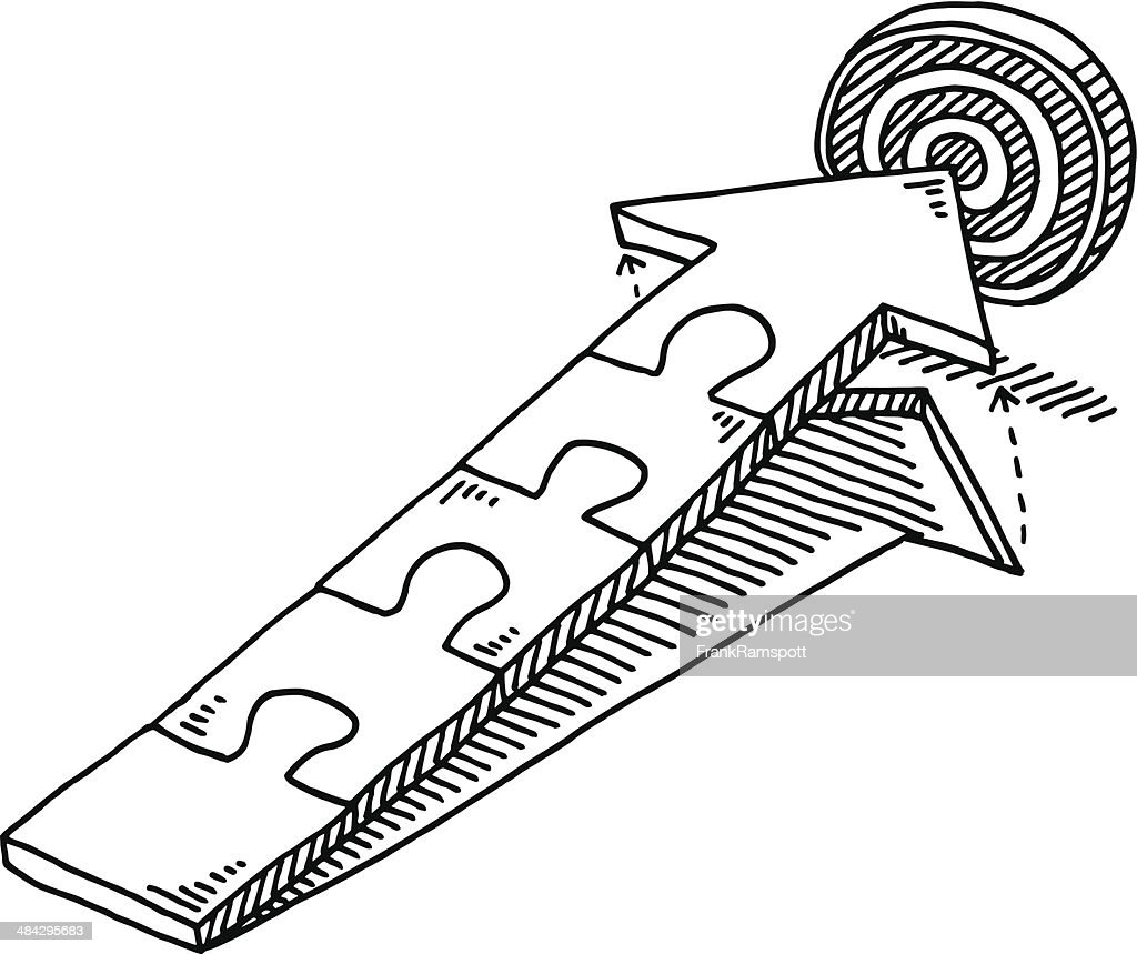 jigsaw pieces arrow target drawing vector art