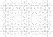 Jigsaw puzzle blank template or cutting guidelines of 70 transparent pieces. Classic style pieces are easy to separate (every piece is a single shape).