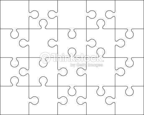 20 Jigsaw Puzzle Blank Template Or Cutting Guidelines Vector Art ...