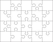Abstract Jigsaw puzzle blank template or cutting guidelines. EPS10.