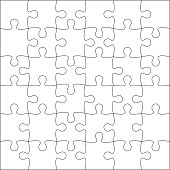 Jigsaw puzzle blank template or cutting guidelines of 36 pieces. Plain white jigsaw puzzle, on white background. Vector  illustration.