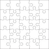 Jigsaw puzzle blank template or cutting guidelines of 25 pieces. Plain white jigsaw puzzle, on white background. Vector  illustration.