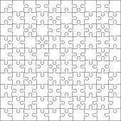 Jigsaw puzzle blank template or cutting guidelines of 100 pieces. Plain white jigsaw puzzle, on white background. Vector  illustration.