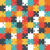 Jigsaw puzzle. Colorful vector illustration.