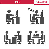 Professional, pixel aligned icons depicting various jobs and career concepts.