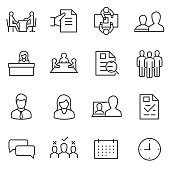 job interview icon set. linear design. choice of employee. Line with editable stroke