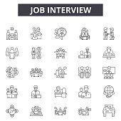 Job interview line icons, signs set, vector. Job interview outline concept illustration: job,business,interview,human,people,employee,recruitment