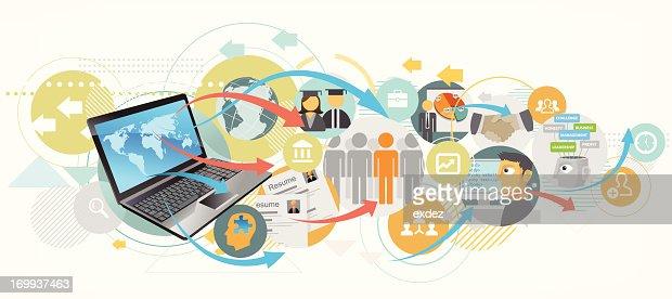 job recruitment using internet vector art