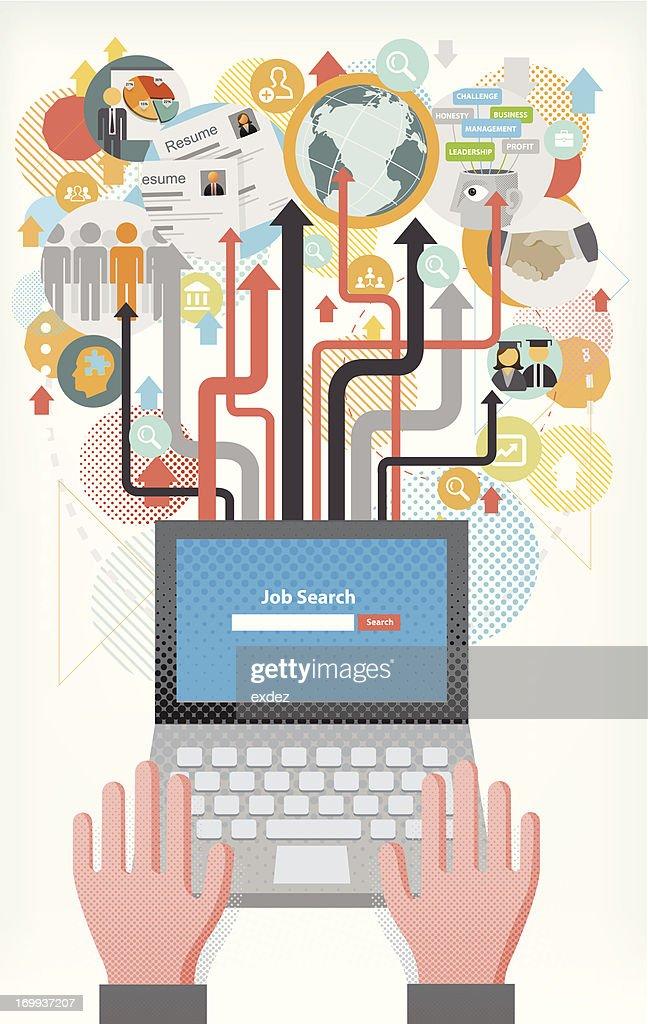 recherche demploi par internet clipart vectoriel