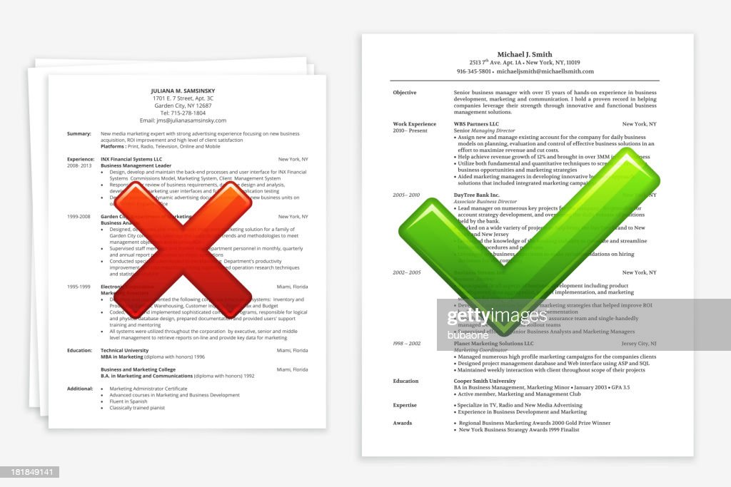 job search with good and bad resume vector art