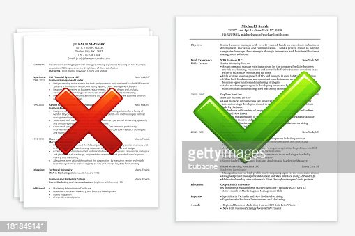 job search with good and bad resume vector art getty images