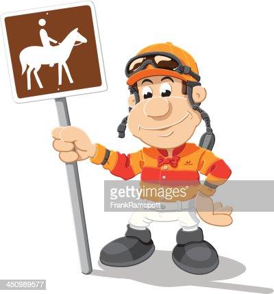 Jockey Horse Sign Cartoon Man Isolated Vector Art