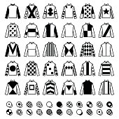 Vector icons set - horse racing jockey uniform plain black designs isolated on white
